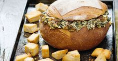 Spinach and caramelised onion cob loaf dip. Super Food Ideas August issue, page (Cob Loaf Dip Recipes) Cob Dip, Cob Loaf Dip, Loaf Recipes, Dip Recipes, Cooking Recipes, Savoury Recipes, Recipies, Slow Cooking, Cooking Ideas