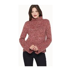 Contemporaine Retro sleeves rib sweater ($52) ❤ liked on Polyvore featuring tops, sweaters, red top, bell sleeve sweater, long red sweater, sleeve sweater and long bell sleeve tops
