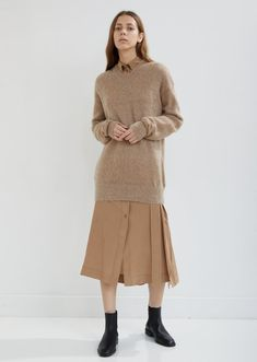 f591231419bc Oversized V-Neck Brushed Mohair Sweater - X-Small   Camel