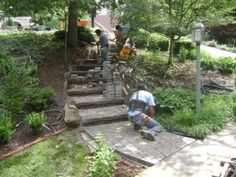 steep home front walkway steps | Paver and Block Steps spann front steps progress ...