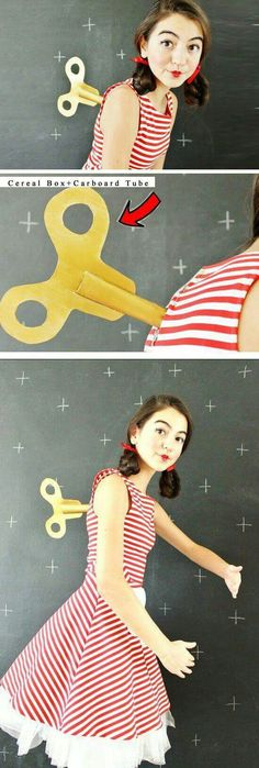 Creative way to hold in a twist key back to a wind up dolls dress up outfit | cute adorable idea for halloween or a dance performance