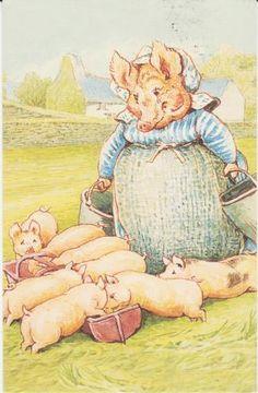 """"""" Tante Petitpas, Tante Petitpas, vous êtes très estimable, mais vos enfants sont mal élevés. Ils ont tous fait des bêtises, à l'exception de Plouf et de Rebondi Cochonnet. - Youp youp, soupira tante Petitpas. Et ils boivent des seaux entiers de lait ; il me faudrait une autre vache ! """" ~ Rebondi Cochonnet"""