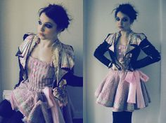 Vintage Victorian Jacket, Flutterbydaisy Knitted Dress In Pink, Atmosphere Black Bow Thigh Highs