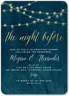 The Night Before - Signature White Rehearsal Dinner Invitations in Stormy Blue or Black | Elk Design