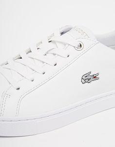 aa1b46c8f7 Lacoste White Leather Showcourt Trainers Dernières Tendances De Mode,  Lacoste, Chaussure, Baskets,