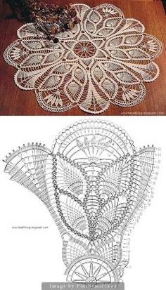 Pineapple Crochet Lace And Tulips From C - Diy Crafts Crochet Tablecloth Pattern, Free Crochet Doily Patterns, Crochet Doily Diagram, Crochet Circles, Crochet Motifs, Crochet Mandala, Crochet Art, Thread Crochet, Crochet Designs