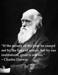 "A thoughtful Charles Darwin noted, in the context of slavery: ""If the misery of the poor be caused not by the laws of nature, but by our institutions, great is our sin."""