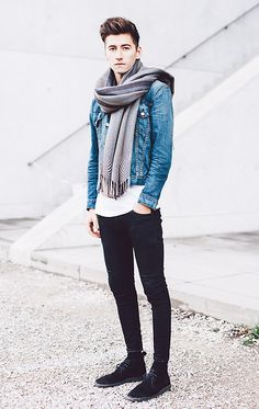 Levi's Levis Denim Jacket, A Kind Of Guise Scarf, Acne Studios Acne Tee, Acne Studios Acne Jeans