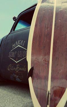 Wood style surfboard/rat rod retro
