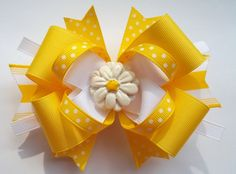 Yellow And WhiteDaisy Center Boutique Hair by JustinesBoutiqueBows, $7.50