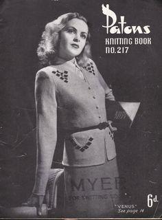 Vintage 1940s  Paton's Knitting Pattern No 217 by jennylouvintage