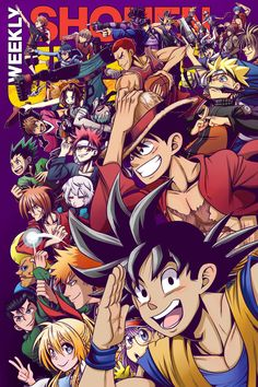 A group action shot of several main characters from Shonen Jump series. Won the Shonen Jump 2016 cover contest! Anime Naruto, Otaku Anime, Manga Anime, Bleach Anime, Anime Crossover, Cartoon Cartoon, Ps Wallpaper, Wallpaper Space, All Anime Characters