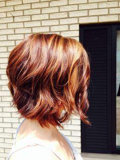 Red hair w blond highlights & auburn lowlights