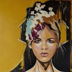 Spring bloom Original Livien Rózen Art, Painting (80x80 cm) #portrait #painting #art #womenartist #faceportrait #Impressionism #moody #contemporaryart #popart #livienrozen #buyartonline Acrylic Art, Acrylic Painting Canvas, Canvas Art, Painting Art, Spring Blooms, Spring Flowers, Original Paintings, Original Art, Buy Art Online