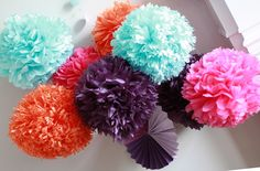 How To DIY Paper Pom Tutorial..A Very Simple Tutorial On Making Paper Poms...Love This One !!  ♡