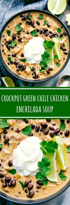 Crockpot Green Chile Chicken Enchilada Soup -- your favorite green chile chicken enchiladas in a creamy, delicious, and easy soup form Crockpot Chicken Enchilada Soup, Crockpot Chile, Enchiladas In Crockpot, Crackpot Chicken Recipes, Cold Chicken Recipes, Healthy Crockpot Soup Recipes, Heathy Soup, Easy Crockpot Soup, Hearty Soup Recipes