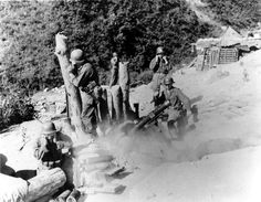 Infantrymen of the Heavy Mortar Co., Platoon, Infantry Regiment, U. Infantry Division, fire the Heavy mortar on Communist hill positions in the Mung Dung-ni Valley. Military Photos, Military History, Bolt Action Game, Schofield Barracks, Army Divisions, Sea Of Japan, Korean Peninsula, Military Operations, War Image