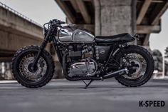 "Triumph Bonneville Street Tracker ""Silver Wolf"" by K- Speed #motorcycles #streettracker #motos | caferacerpasion.com"