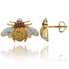 14K Solid Yellow Gold Womens Diamond Bumble Bee Earrings with Yellow, Red and Black Diamonds 0.60 Ctw