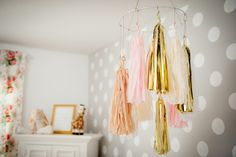 Pink and gold tassel mobile