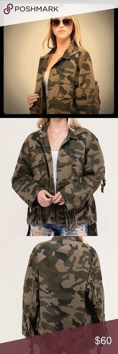 """🎉Coming Soon🎉 Camo Utility Jacket Oversized Camo Jacket. Comes im S/M (choose small option) and L/XL (choose large option)                           Model is 5`7"""" and wearing a Small - Bust: 32"""" - Waist: 25"""" Très Bien Jackets & Coats Utility Jackets"""