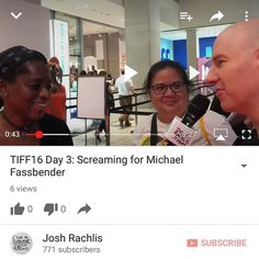 Right on time I've uploaded to http://youtube.com/joshrachlis my vlog from Day 3 of #TIFF16 (That's right - It was filmed way back on September 9). On that day I heard people screaming for Michael Fassbender and @teresa24601 showed up from Cleveland. I wanted to post a vlog every day during the Toronto International Film Festival. But I didn't post one after Day 2 because I discovered that the things take too long to edit. But I did keep filming my adventures. And I've been editing the…