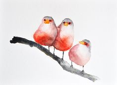 3 Red Birds - ORIGINAL Watercolor painting / Bird art / Summer birds / Abstract birds 6x8 inch