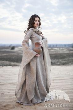 """Beautiful open weave, linen, cowl neck dress.  Linen """"Wanderer"""" Dress"""