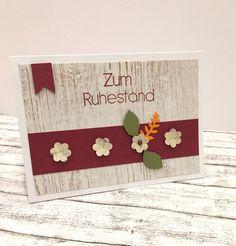Weiteres - Karte zum RUHESTAND mit BLÜMCHEN - ein Designerstück von POMMPLA bei DaWanda Flower Cards, Stampin Up, Card Ideas, Stamps, Lettering, Etsy, Flowers, Design, Decor
