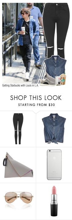 """""""Getting Starbucks with Louis in L.A."""" by sixsensestyles ❤ liked on Polyvore featuring Topshop, Jean-Paul Gaultier, Georgina Skalidi, Native Union, adidas, Valentino, MAC Cosmetics and With Love From CA"""