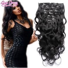 48.76$  Buy here - http://alilhb.worldwells.pw/go.php?t=32583172306 - Malaysian Clips in Human Hair Extensions Full Head Set Brazilian Virgin Human Hair Clip Ins Body Wave For Black Women Free Ship 48.76$