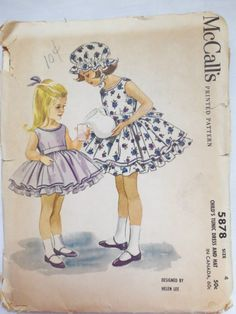 Vintage 1961 McCall's 5878 Girl's DRESS & HAT pattern size 4 UNCUT