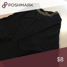Black 3/4 Sleeve Dress Top w/ Beading Flowy black dress shirt with beading around neckline. Never worn. Size XL bobeau Tops Tunics