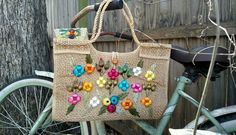 Vintage 60's Straw & Wicker Tote/ Handbag with Raffia Flowers in Clothing, Shoes & Accessories, Vintage, Vintage Accessories | eBay