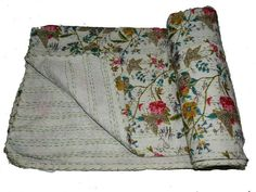 Your place to buy and sell all things handmade Kantha Quilt, Quilts, Quilt Material, Kantha Stitch, Running Stitch, Bed Throws, Bird Prints, Cool Patterns, Bed Covers