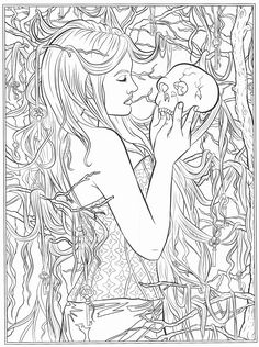 coloring pages horror gothic skulls angels grind
