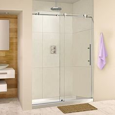 """Frameless Sliding Shower Door, 56-60 in. Width, 76"""" Hight, 3/8"""" (10 mm) clear tempered glass, Brushed Nickel Stainless Steel Finish, Designed for smooth door closing. MBSDC6076-B-4"""