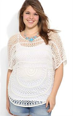 Plus Size Crochet Top with Elbow Length Sleeves and Rounded Bottom Hem