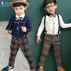 $8.15 (Buy here: https://alitems.com/g/1e8d114494ebda23ff8b16525dc3e8/?i=5&ulp=https%3A%2F%2Fwww.aliexpress.com%2Fitem%2FBoys-Summer-Cotton-Clothes-sets-Smile-Face-Printed-Cute-T-shirts-pants-kids-pajama-clothing-set%2F32315771451.html ) 2016 Boys gentleman suits t-shirt + Pants 2pcs / 3pcs Scarf bow shirt jeans jacket Plaid set baby Children Kids Free shipping for just $8.15