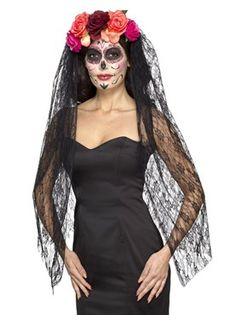 Adult Deluxe Day of the Dead Headband and Veil by Fancy Dress Ball