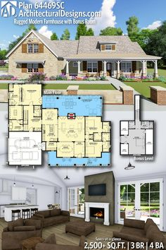 Plan Rugged Modern Farmhouse with Bonus Room You can find Modern and more on our website.Plan Rugged Modern Farmhouse with Bonus Room New House Plans, Dream House Plans, House Floor Plans, My Dream Home, 2200 Sq Ft House Plans, Modern Farmhouse Plans, Farmhouse Style, Rustic Farmhouse, Future House