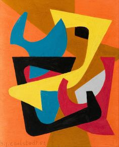 composition-D-1953.  Birger Carlstedt (1907-1995) was a Finnish pioneer of Modern Art. He studied at the School of the Fine Arts Association of Finland and the Central School of Applied Arts in Helsinki. He developed a non-figurative abstract form of expression.