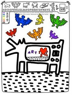 My Adventures In Positive Space: Great Art Sites for Kids— Keith Haring Middle School Art, Art School, History Projects, Art History, Jm Basquiat, Keith Haring Art, Artist Project, Ecole Art, Art Sites