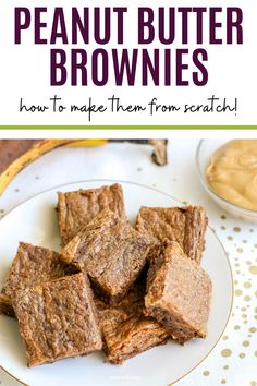 Rich, chocolatey, and easy to make, these peanut butter banana brownies are sure to be a hit with your family! #desserts #brownies #easyrecipes