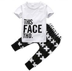 Little Boys Short Sleeve Letters Print T-shirt and Cross ...