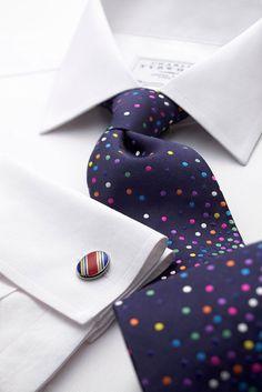 Navy multi spot handmade tie.