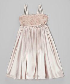 Kids Dream Dusty Rose Rosette Satin Babydoll Dress - Toddler & Girls | zulily
