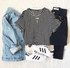 Jean jacket, black&white shirt, black jeans, white adidas