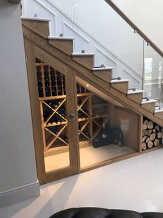 Bespoke wine racking for under stairs wine storage, perfect for any home re-desi. Bespoke wine racking for under stairs wine storage, perfect for any home re-design or makeover! Made from hand in the UK using Pine, this wine cellar . Escalier Design, Metal Stairs, Glass Stairs, Glass Walls, Staircase Design, Staircase Storage, Shoe Storage Kitchen, Storage Ideas For Basement, Shoe Rack Under Stairs