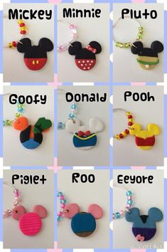 Disney Wine Charms by LotsOfHappiness on Etsy Disney Diy, Fimo Disney, Disney Clay Charms, Polymer Clay Disney, Disney Frozen, Cute Polymer Clay, Cute Clay, Polymer Clay Crafts, Crafts For Teens To Make